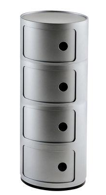 Rangement Componibili 4 tiroirs H 77 cm Kartell argent en matière plastique