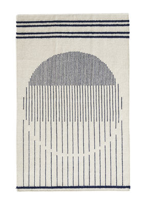 Decoration - Rugs - Raining Circle Rug - 90 x 140 cm by Woud - White / Blue pattern - Cotton, Wool