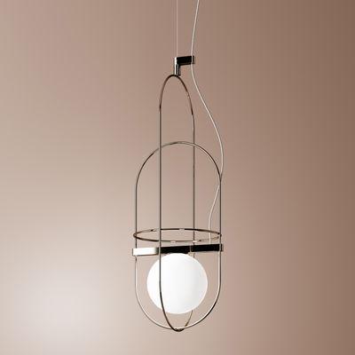 Illuminazione - Lampadari - Sospensione Setareh - / LED - L 18,5 x H 55 cm di Fontana Arte - Cromato & bianco - Metallo, Vetro soffiato a bocca