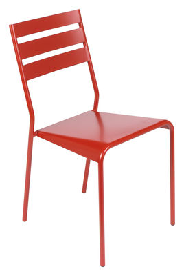 Furniture - Chairs - Facto Stacking chair by Fermob - Poppy - Lacquered steel