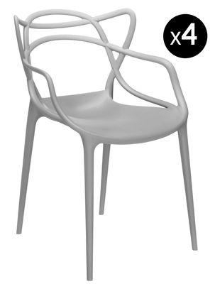 Möbel - Stühle  - Masters Stapelbarer Sessel 4-er Set - Kartell - Grau - Polypropylen
