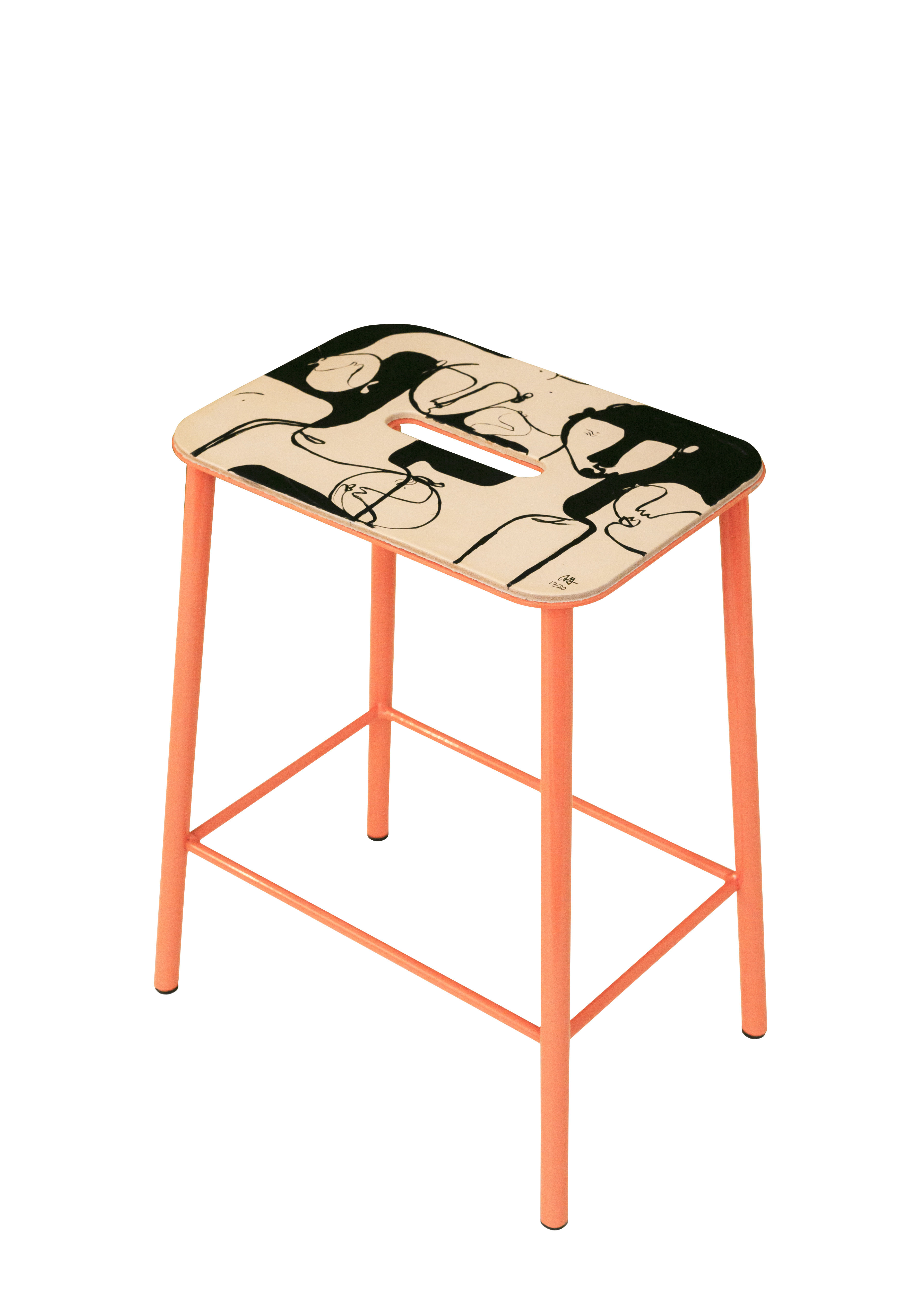 Furniture - Stools - Adam Cuir by Anna Mörner Stool - / H 50 cm - Limited, numbered edition - 20 years of MID by Frama  - Pink - Lacquered steel, Leather
