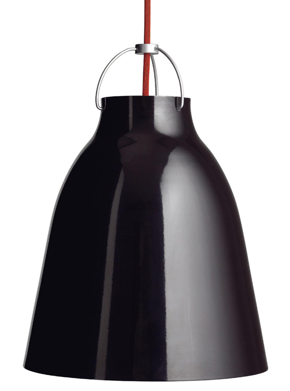 Luminaire - Suspensions - Suspension Caravaggio Small / Ø 16,5 cm - Lightyears - Noir brillant / Câble rouge - Aluminium laqué