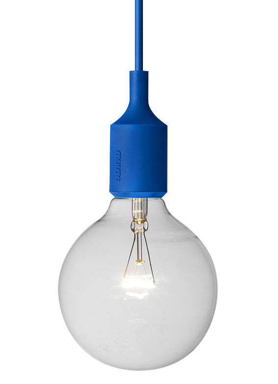 Luminaire - Suspensions - Suspension E27 - Muuto - Bleu - Silicone