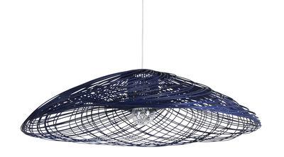 Suspension Satélise M / Rotin - Ø 60 cm - Forestier bleu en fibre végétale