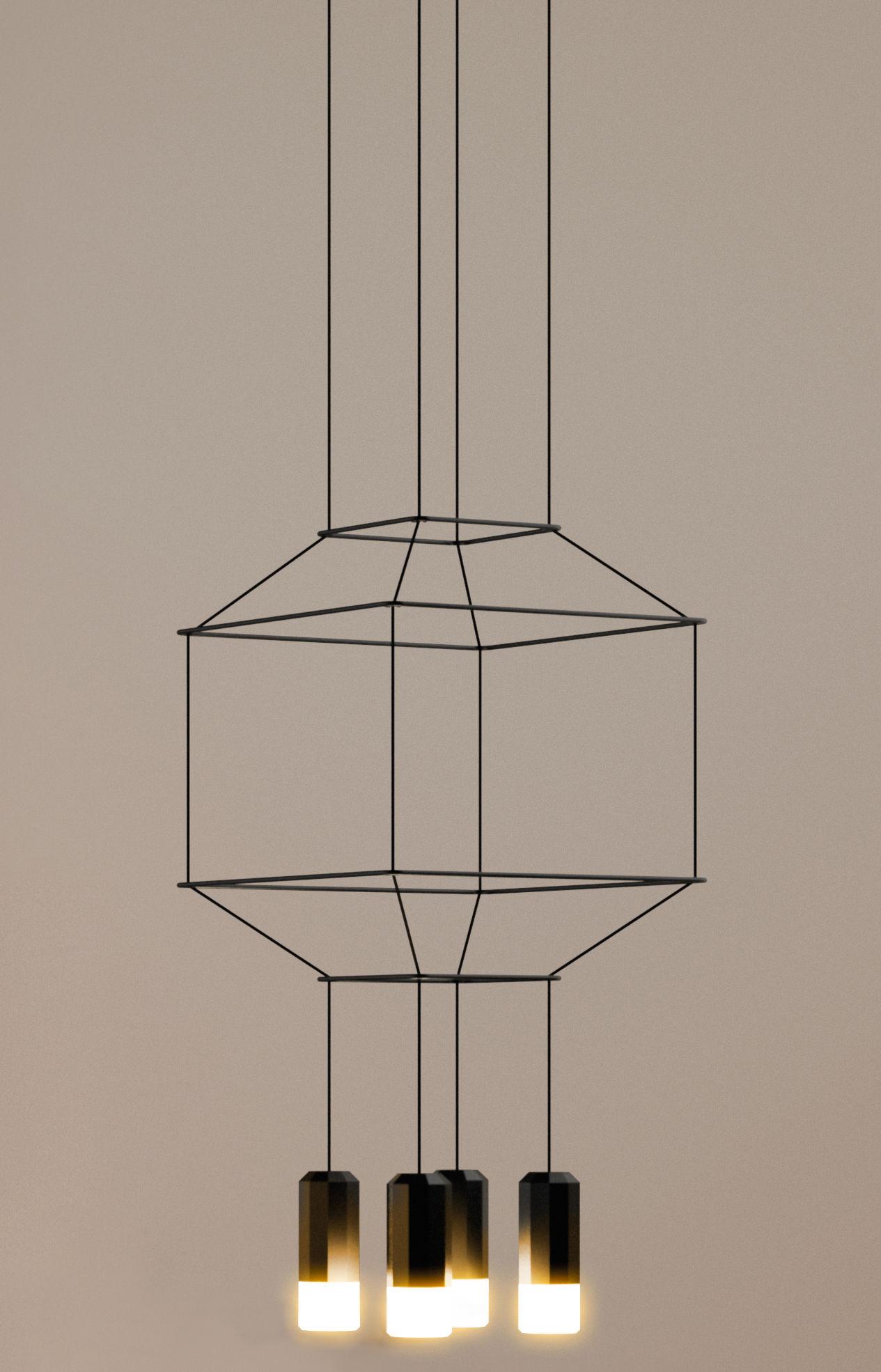Luminaire - Suspensions - Suspension Wireflow / 30 x 30 x H 32,5 cm - Vibia - Noir - Métal laqué, Teflon, Tissu, Verre