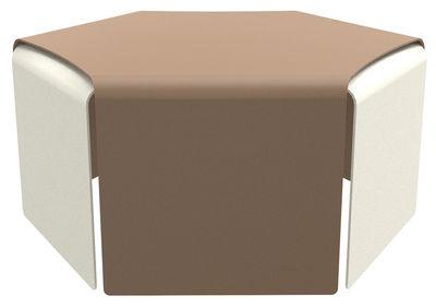 Table basse Ponant / Set de 2 - Empilables - Indoor/ Outdoor - Matière Grise sable,craie en métal