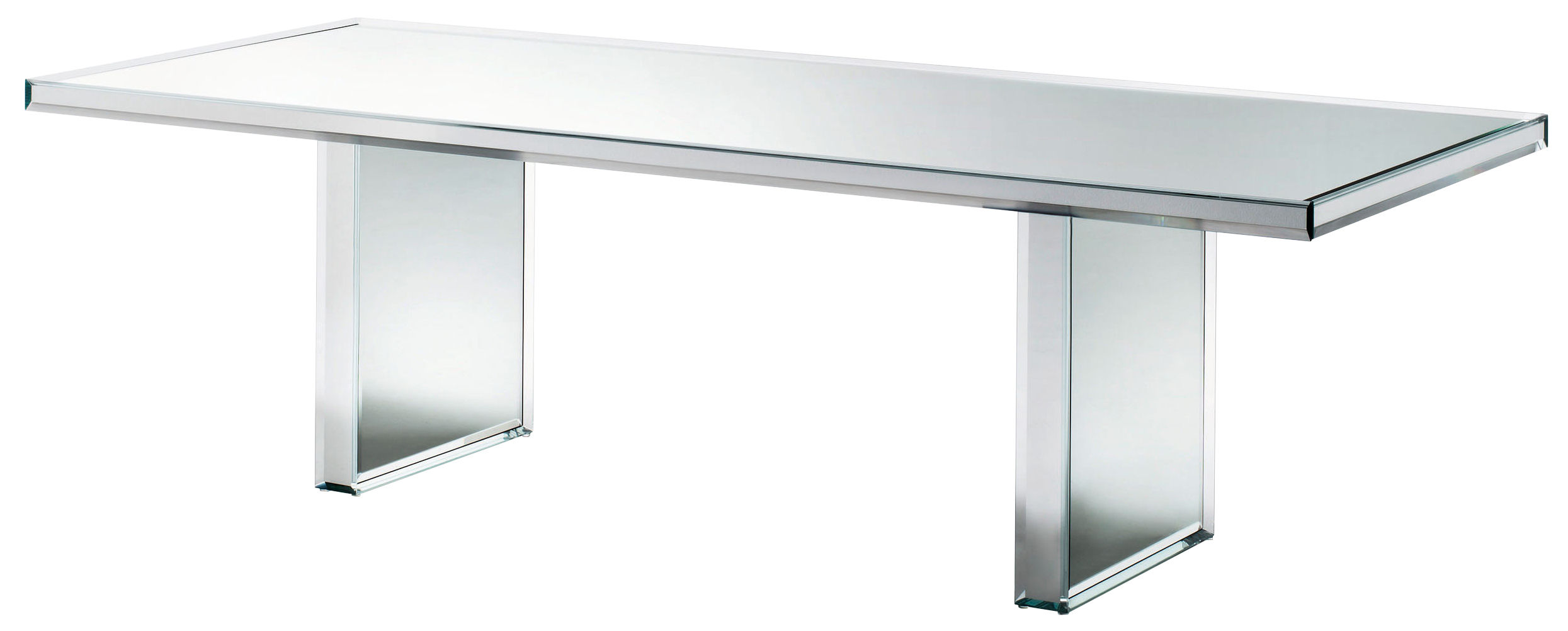 Mobilier - Tables - Table rectangulaire Prism Mirror / 240 x 90 cm - Glas Italia - Miroir - Verre finition miroir