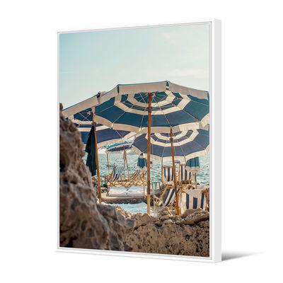 Déco - Stickers, papiers peints & posters - Toile encadrée French Riviera / 80 x 120 cm - PÔDEVACHE - Parasols / Bleu - Pin, Toile
