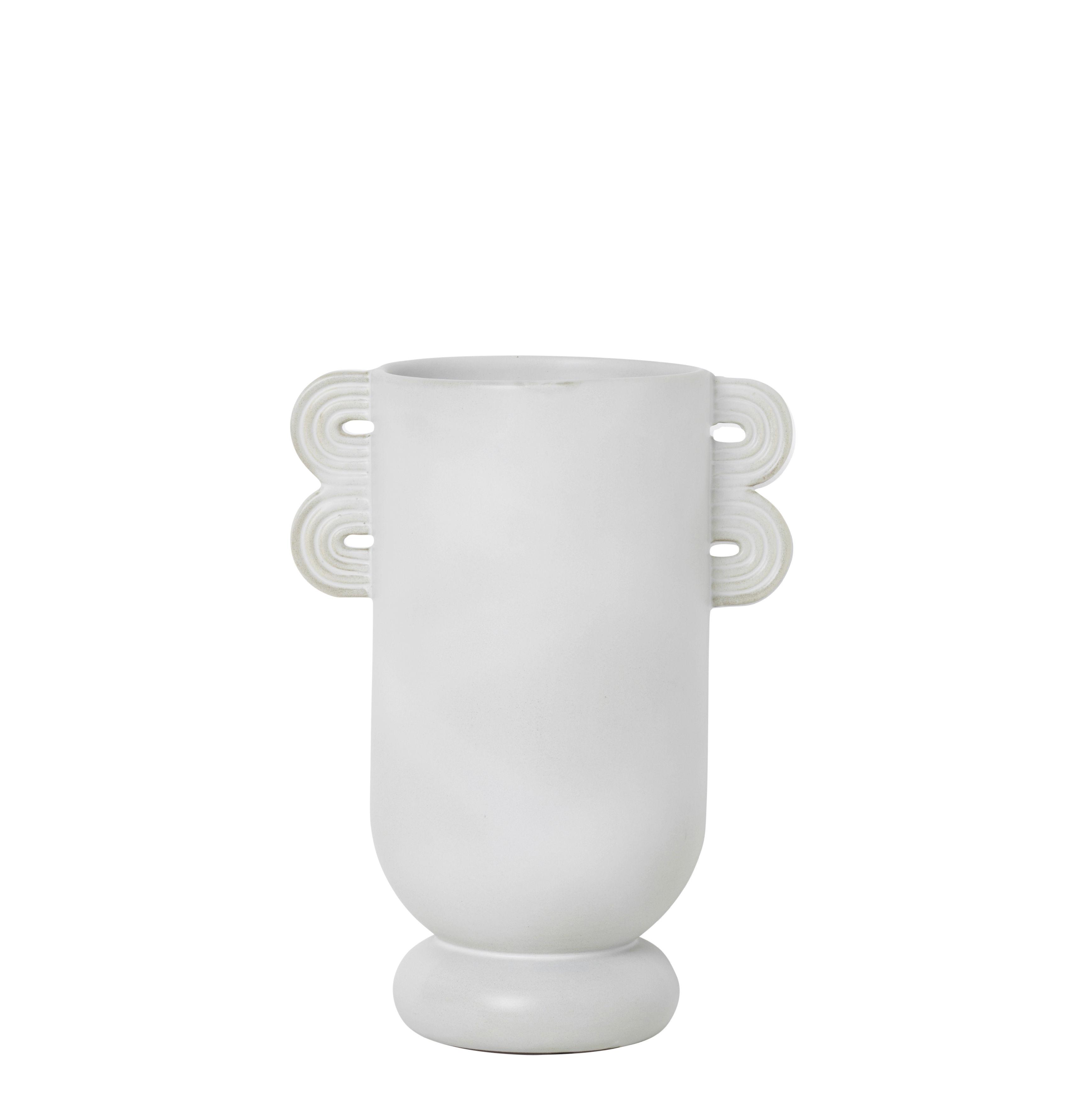 Déco - Vases - Vase Muses - Ania /L 19 x H 26 cm - Ferm Living - Ania / Blanc - Grès émaillé