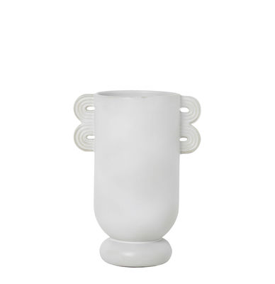 Decoration - Vases - Muses - Ania Vase - /L 19 x H 26 cm by Ferm Living - Ania / White - Enamelled sandstone