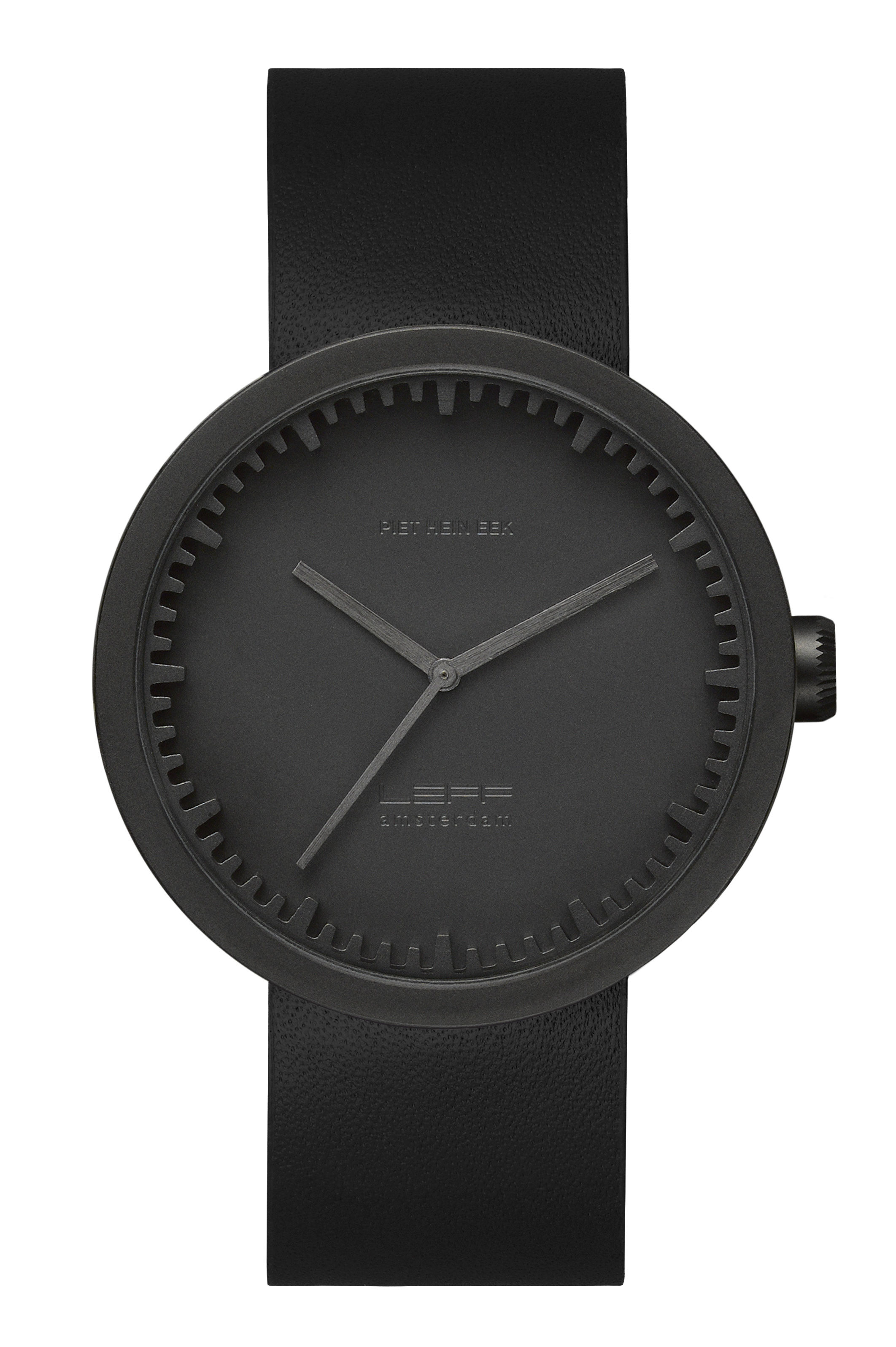 Accessories - Watches - D42 Watch - Leather wristband by LEFF amsterdam - Matt balck, black - 316L brushed stainless steel, Glass, Leather
