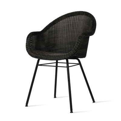 Furniture - Chairs - Edgard Armchair - / Hand-woven polyethylene wicker by Vincent Sheppard - Black - Polythene wicker, Powder coated steel, Thermolacquered aluminium