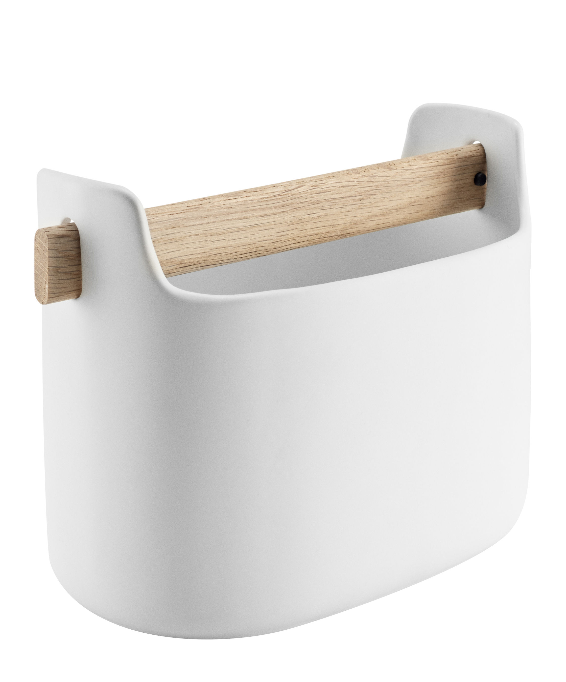 Accessoires - Accessoires bureau - Bac de rangement / L 19 x H 15 cm - Céramique & chêne - Eva Solo - Blanc / Chêne - Céramique, Chêne