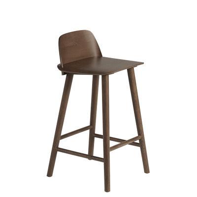 Furniture - Bar Stools - Nerd Bar chair - / H 65 cm - Wood by Muuto - Dark wood - Tinted oak plywood, Tinted oak wood