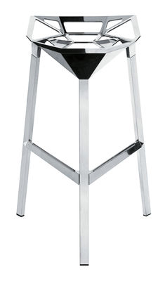 Furniture - Bar Stools - Stool One Bar stool - H 77 cm - Polished alu by Magis - Polished aluminium - Aluminium