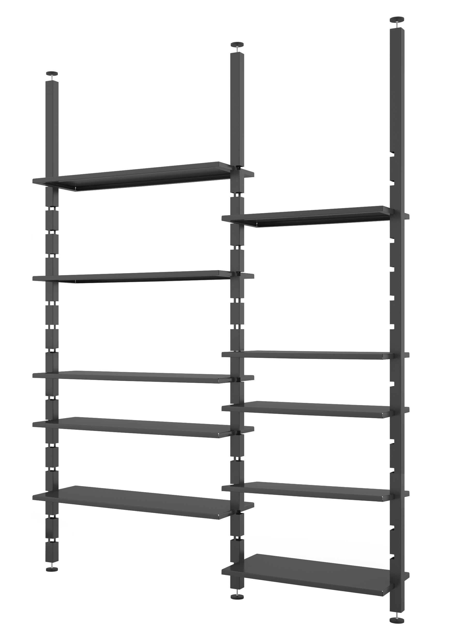 Möbel - Regale und Bücherregale - Kasper Bücherregal / Deckenmontage - L 185 cm x H max. 300 cm - Zeus - Schwarzgrau - bemalter Stahl