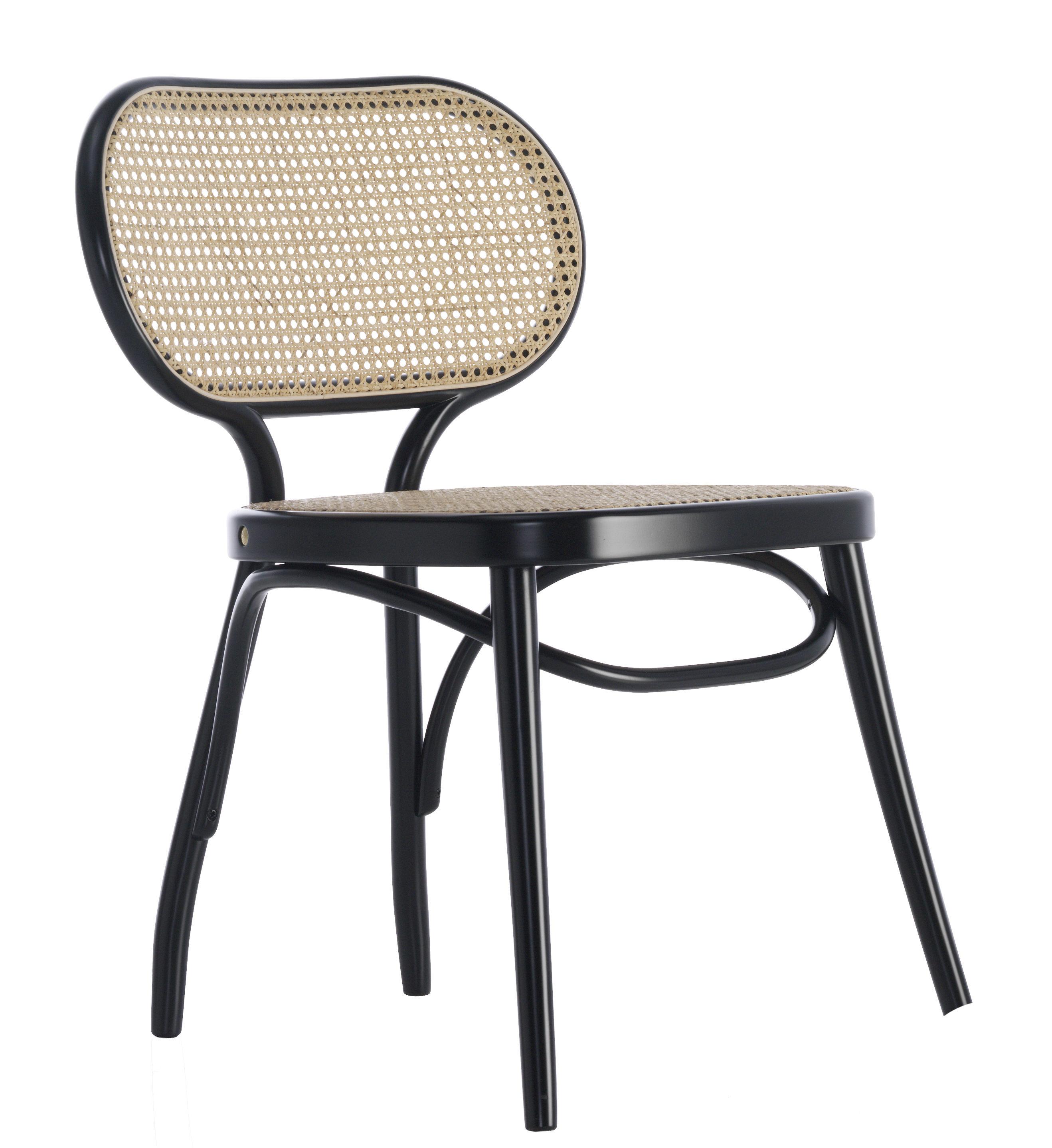 Mobilier - Chaises, fauteuils de salle à manger - Chaise Bodystuhl / Bois & cannage - Wiener GTV Design - Noir / Paille naturelle - Hêtre massif cintré, Paille