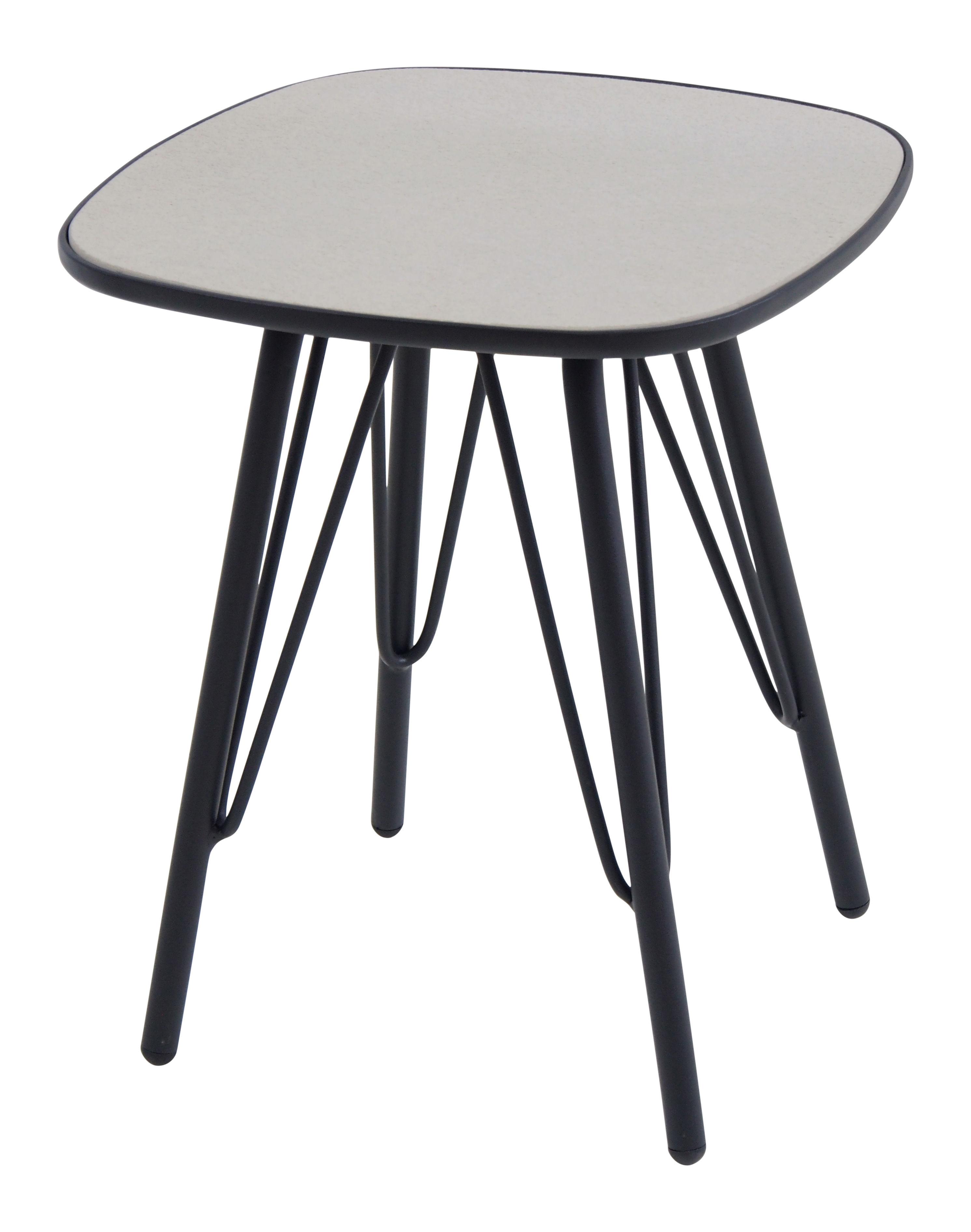 Furniture - Coffee Tables - Lyze End table - 40 x 40 cm by Emu - Light grey top / Black leg - Varnished aluminium