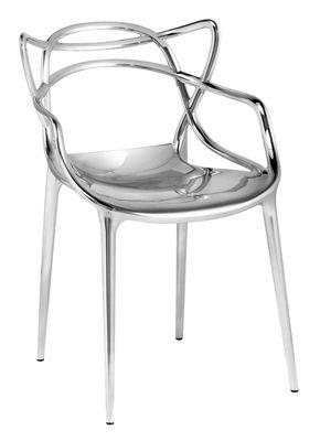 Mobilier - Chaises, fauteuils de salle à manger - Fauteuil empilable Masters / Métallisé - Kartell - Chromé - ABS métallisé