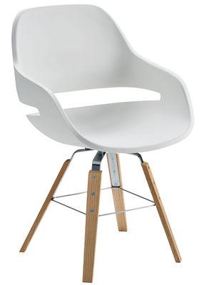 Mobilier - Chaises, fauteuils de salle à manger - Fauteuil Eva / Polyuréthane & pieds bois - Zanotta - Coque blanche / Pieds bois - Polyuréthane, Rouvre