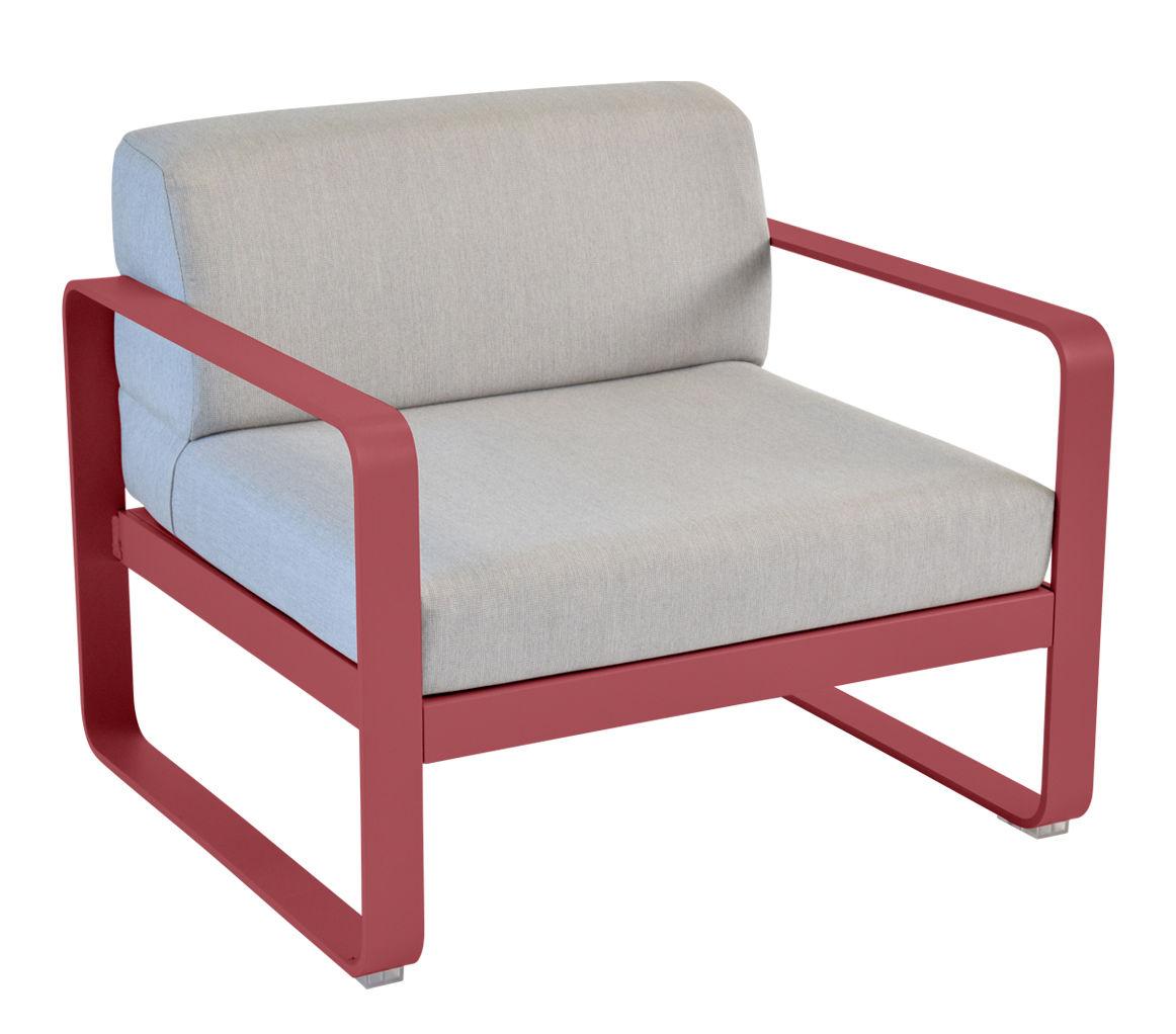 Mobilier - Fauteuils - Fauteuil rembourré Bellevie / Tissu gris - Fermob - Piment / Tissu gris - Aluminium laqué, Mousse, Tissu acrylique