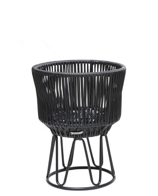 Outdoor - Pots & Plants - Circo  1 Flower-pot holder - / Ø 36 x H 48 cm by ames - Black - Recycled plastic threads, Thermolacquered galvanised steel