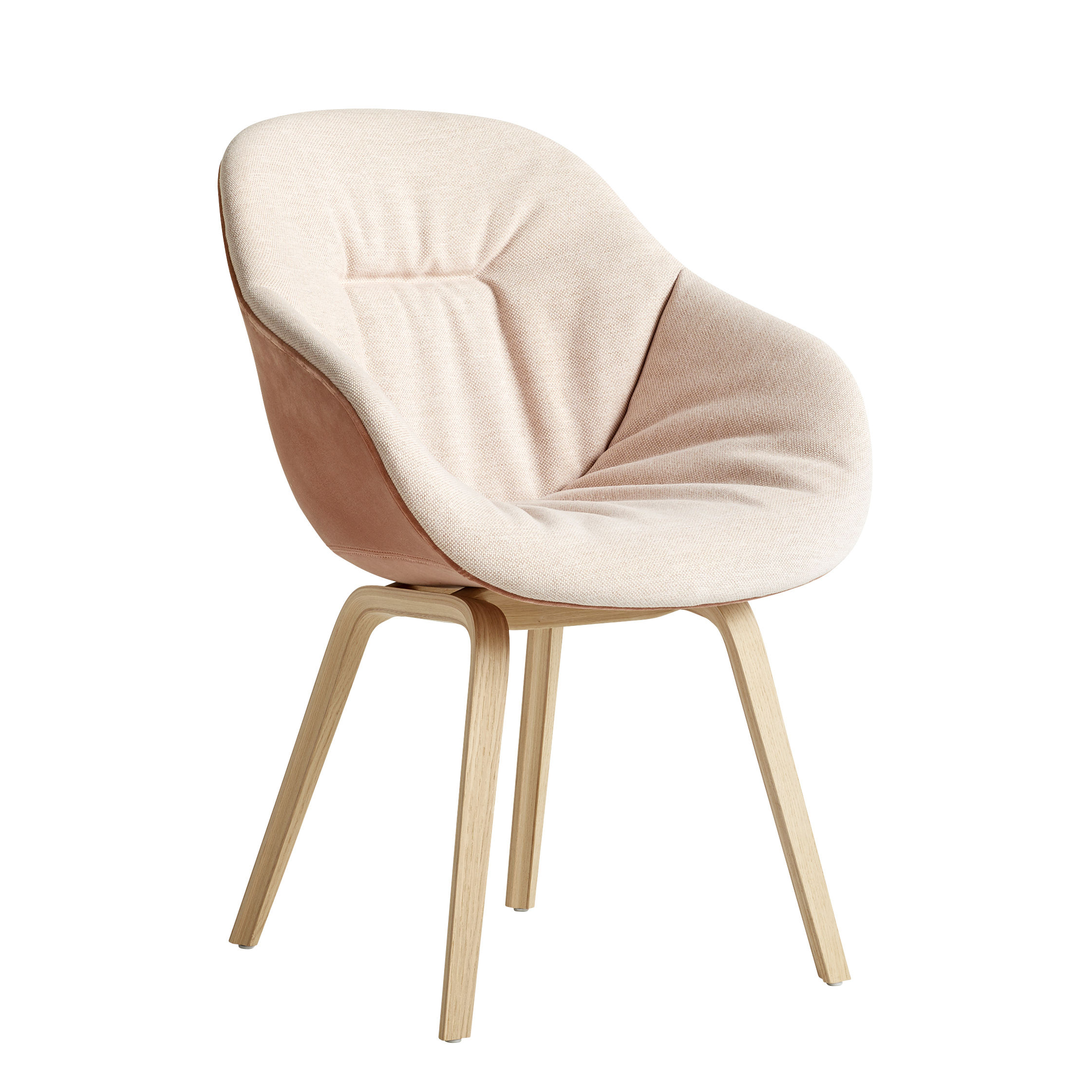 Möbel - Stühle  - About a chair AAC123 Soft Duo Gepolsterter Sessel / Hohe Rückenlehne - Ganz mit Steppstoff bezogen & matt lackierte Eiche - Hay - Hellrosa & dunkelrosa / Eiche matt lackiert -  Ouate, Eiche, mattlackiert, Gewebe, Polyurethan-Schaum, verstärktes Polypropylen