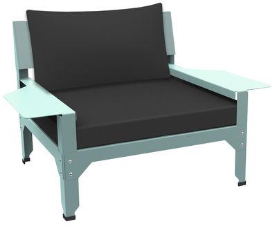 Lounge Hegoa Gepolsterter Sessel / outdoorgeeignet - Matière Grise - Taupe,Blassblau
