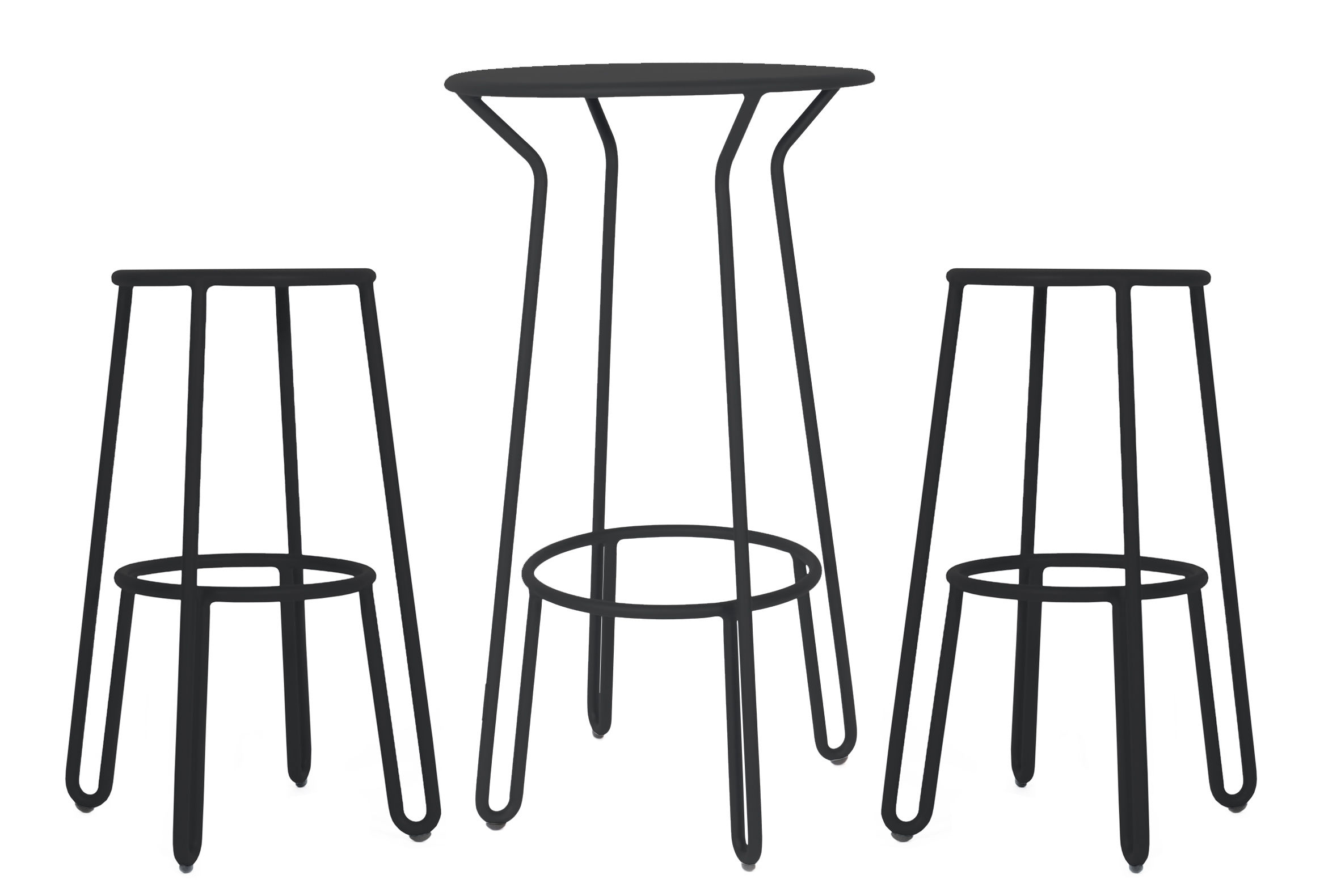 Furniture - Bar Stools - Huggy High table - / + 2 bar stools - H 75cm by Maiori - Carbon - Lacquered aluminium