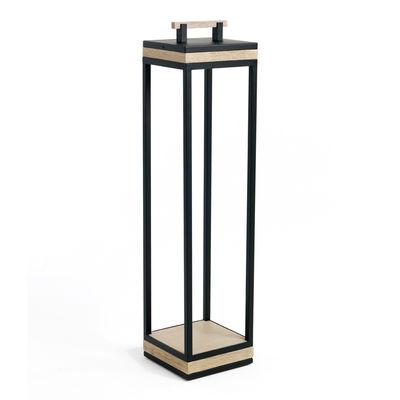 Luminaire - Lampadaires - Lampe à poser Carrè XL / LED - H 110 cm / Teck décapé & métal - Ethimo - Teck décapé & noir - Aluminium thermolaqué, Teck certifié FSC, Verre