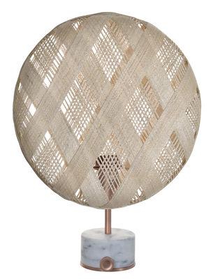 Lampe de table Chanpen Diamond / Ø 36 cm - Motifs losanges - Forestier cuivre,beige en tissu