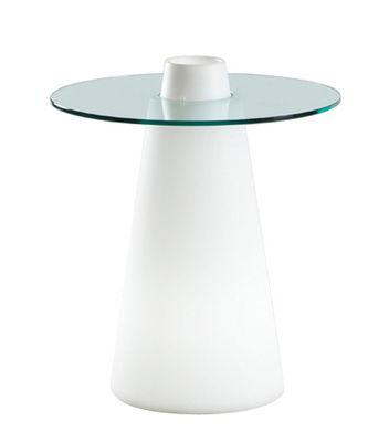 Möbel - Leuchtmöbel - Peak leuchtender Tisch H 80 cm - Slide - Weiß / transparent - Glas, Recycelbares geformtes Polyethylen