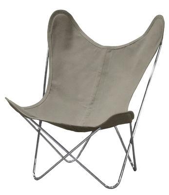 Möbel - Lounge Sessel - AA Butterfly Lounge Sessel Leinen / Gestell chrom-glänzend - AA-New Design - Gestell chrom-glänzend / Leinen (naturfarben) - Leinen, Stahl