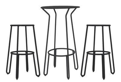Mobilier - Tabourets de bar - Mange-debout Huggy / + 2 tabourets de bar H 75 cm - Maiori - Carbone - Aluminium laqué époxy