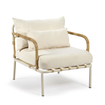 Furniture - Armchairs - Capizzi Padded armchair - / Rattan & fabric by Serax - White / White & rattan - Aluminium, Fabric, Foam, Rattan
