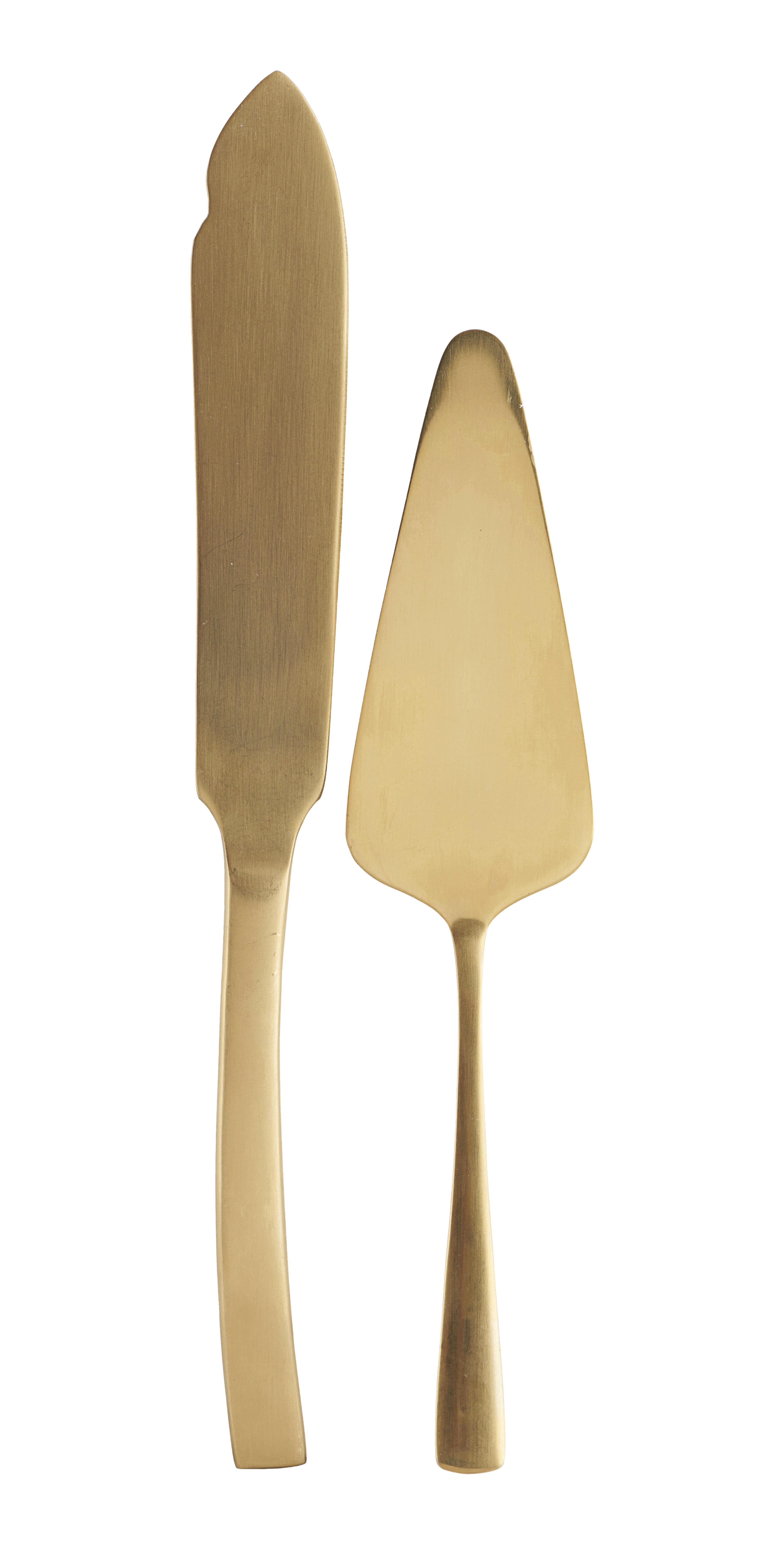Arts de la table - Couverts de service - Pelle à tarte Golden / + couteau à gâteau - House Doctor - Service gâteau / Or - Acier inoxydable
