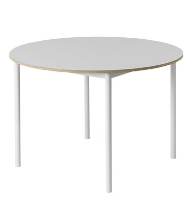 Furniture - Dining Tables - Base Round table - Ø 110 cm by Muuto - White - Extruded aluminium, Plywood, Stratified