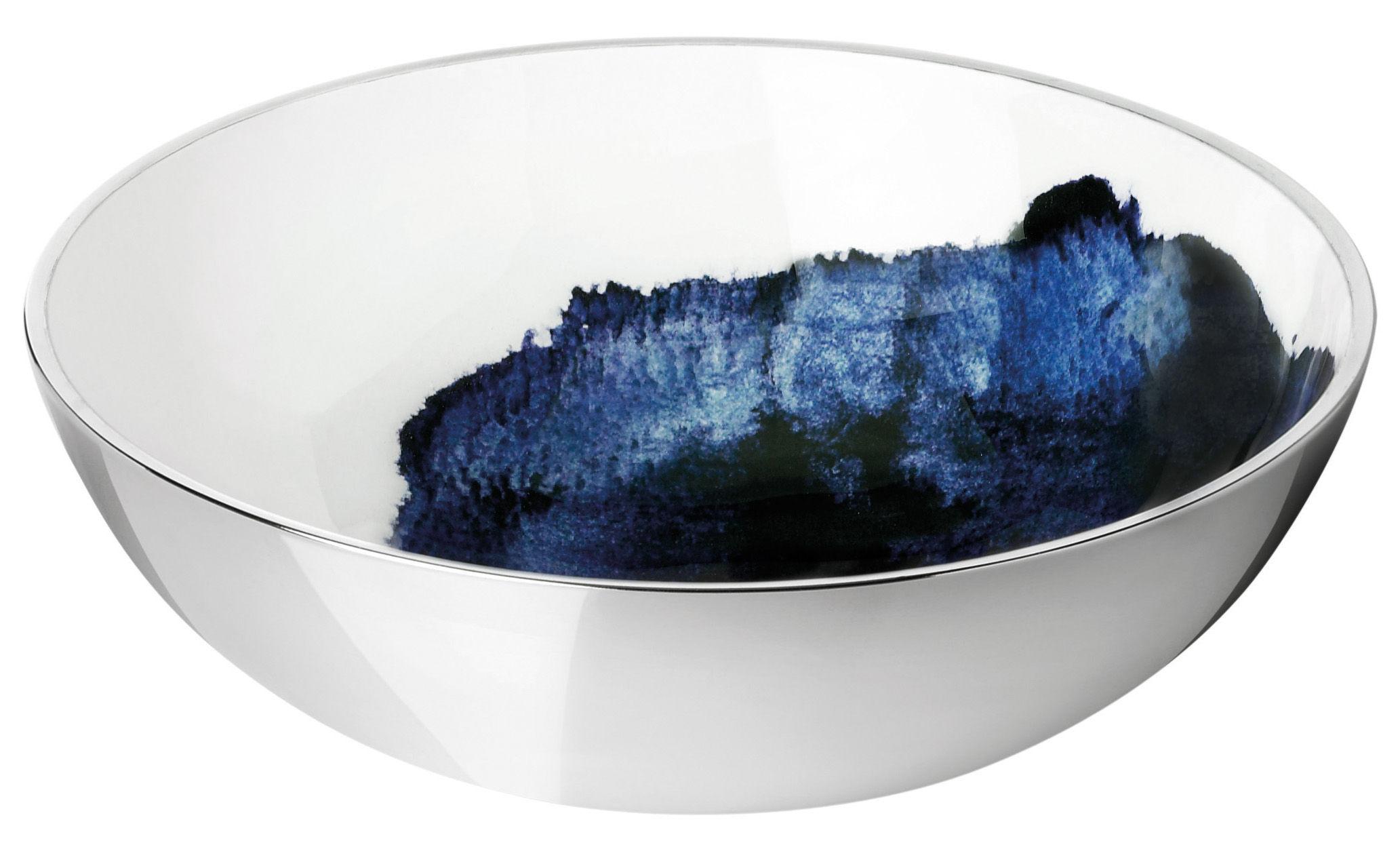 Tischkultur - Salatschüsseln und Schalen - Stockholm Aquatic Schale / Ø 20 cm x H 7 cm - Stelton - Außenseite metallfarben / Innenseite weiß & blau - Aluminium, emaillierte Keramik