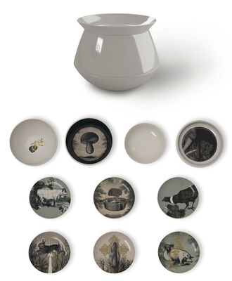 Arts de la table - Assiettes - Service de table Luso d'Antan /10 pièces empilable - Ibride - Extérieur blanc / Intérieur à motifs - Mélamine