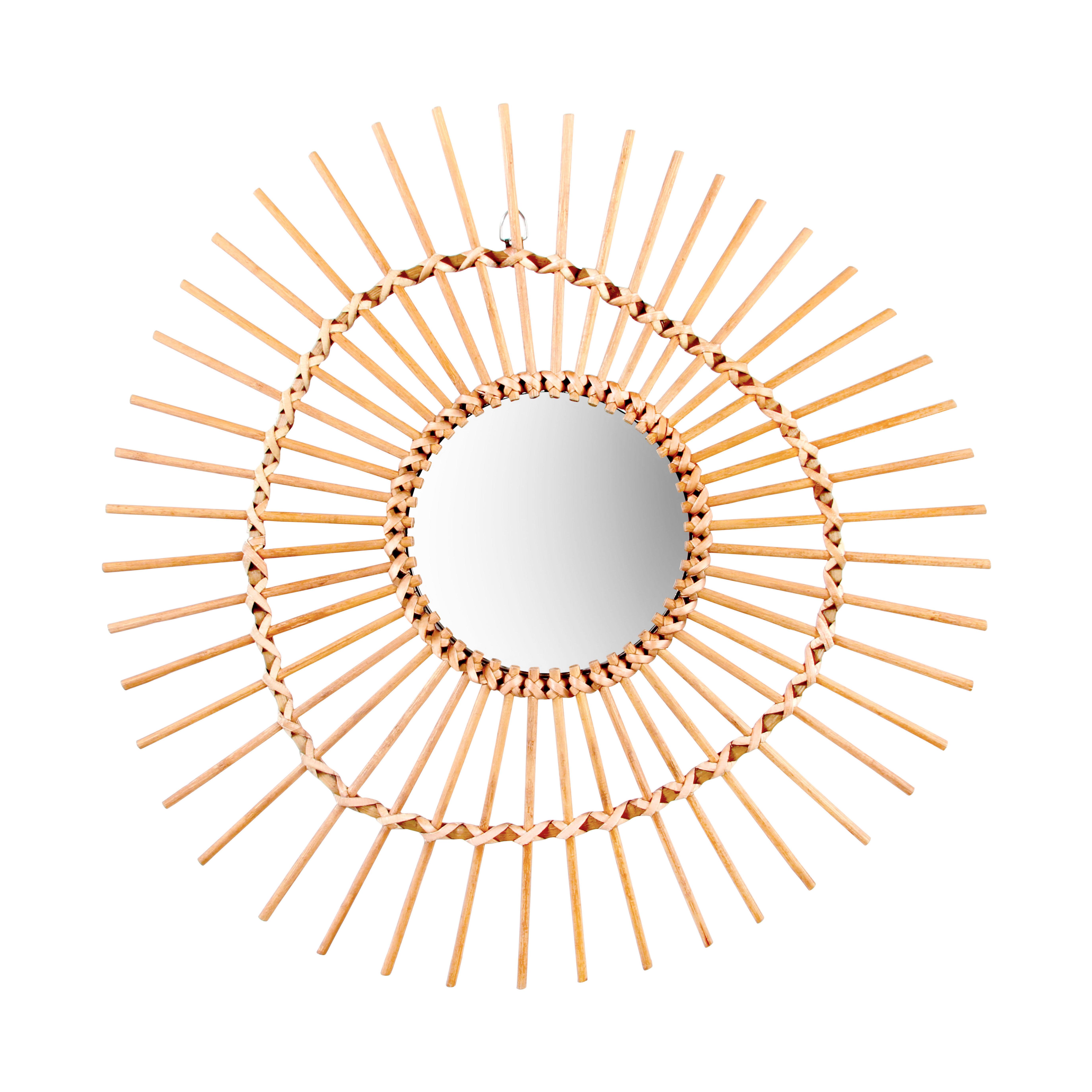 Interni - Specchi - Specchio Bamboo Irregular / Rattan - Ø 47 cm - & klevering - Irregolare / Naturale - Midollino, Vetro