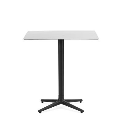 Outdoor - Garden Tables - Allez 4L OUTDOOR Square table - / 70 x 70 cm - Steel by Normann Copenhagen - Brushed steel - Brushed stainless steel, Cast iron