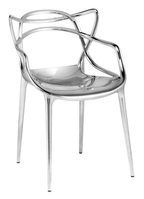 Furniture - Chairs - Masters Stackable armchair - Metallised by Kartell - Chromed - Recycled thermoplastic technopolymer