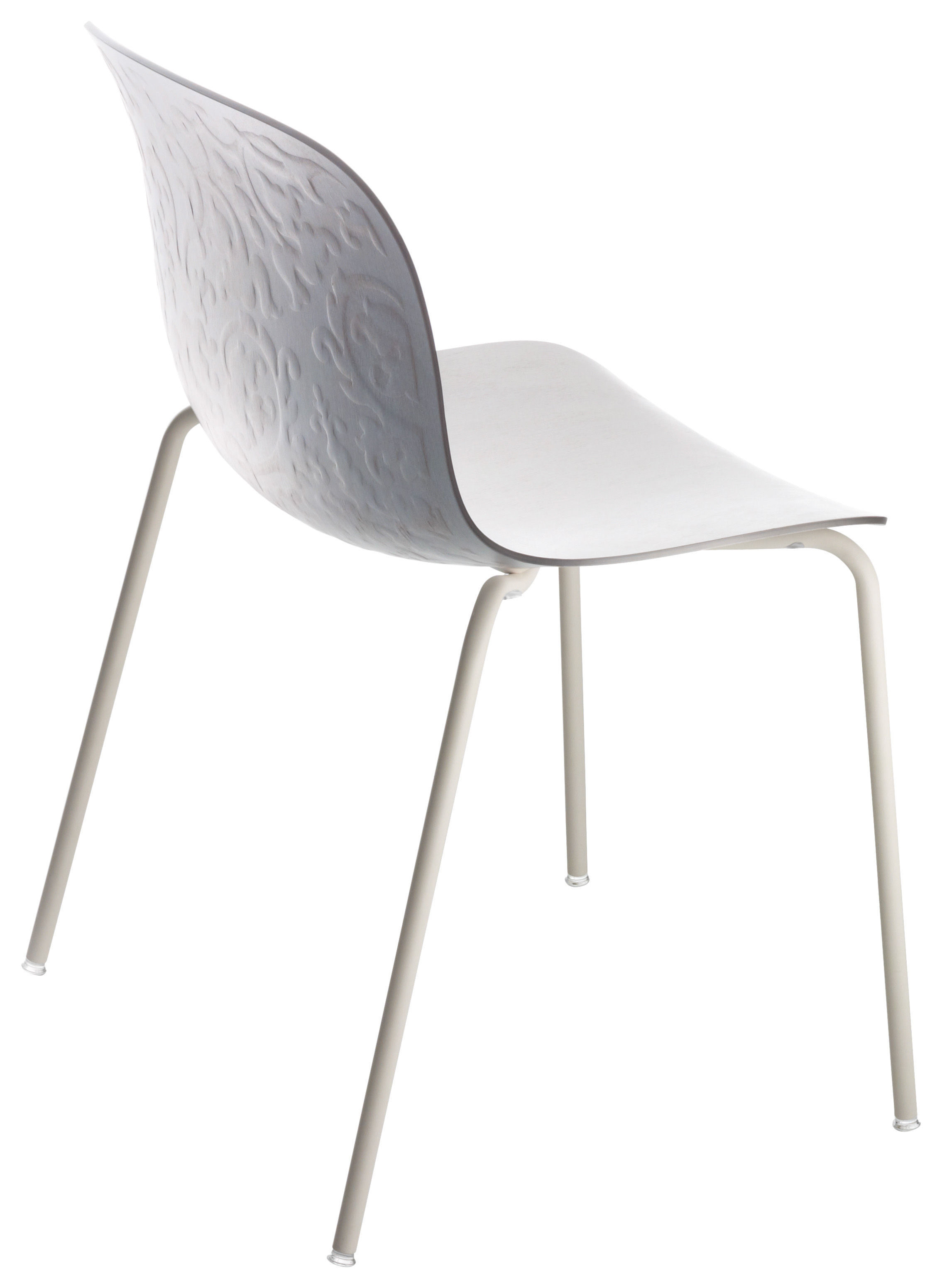 Furniture - Chairs - Troy Stacking chair - Wood seat - Varnished legs by Magis - Bleached beech shell / White frame - Plywood - beechwood tinted, Varnished steel
