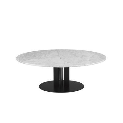 Mobilier - Tables basses - Table basse Scala / Ø 130 x H 40 cm - Marbre blanc - Normann Copenhagen - Marbre blanc - Acier verni, Marbre