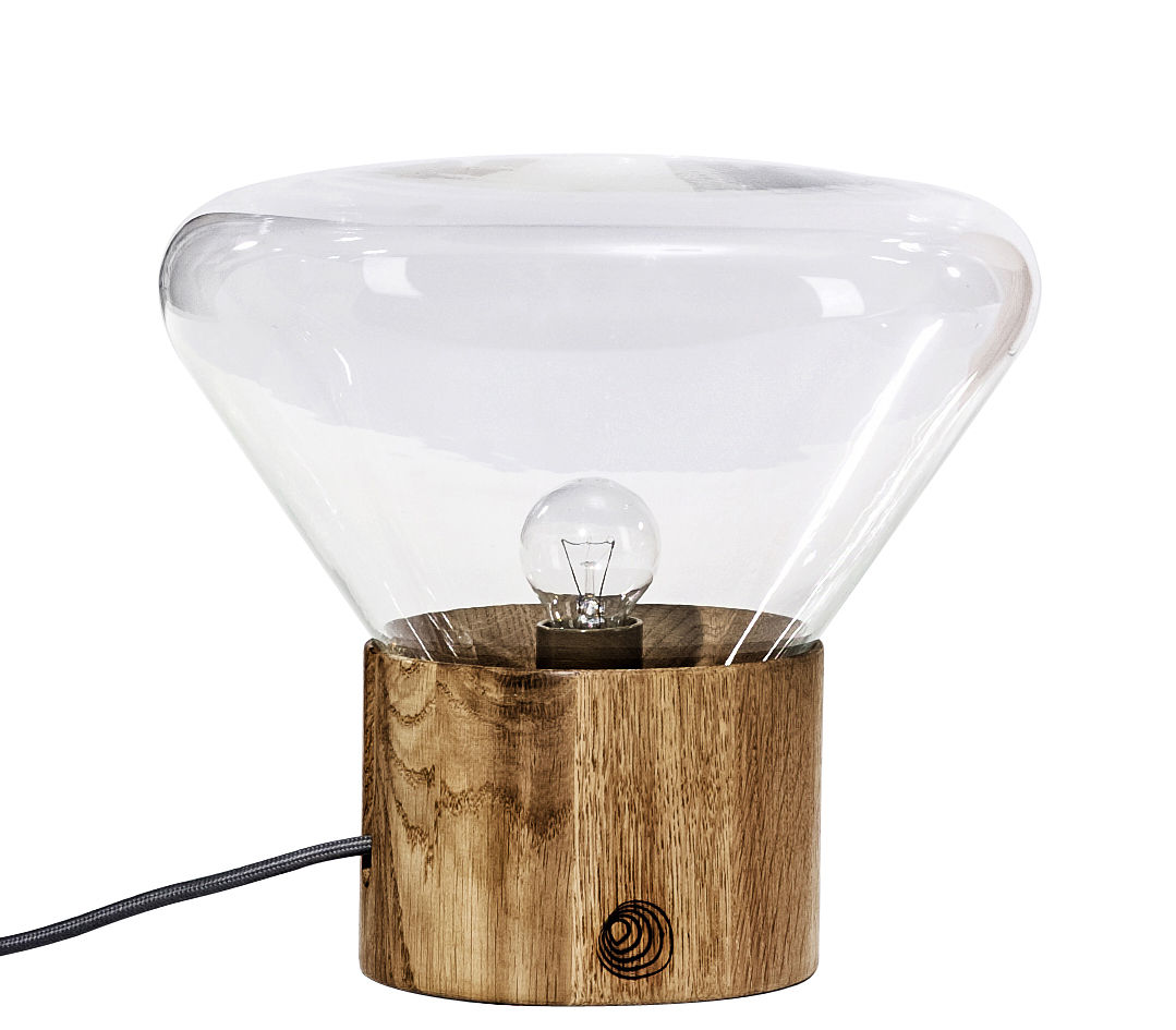Lighting - Table Lamps - Mini Muffin Table lamp by Brokis - Transparent glass - Blown glass, Oak
