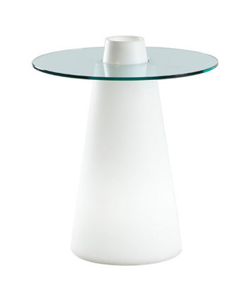 Table lumineuse Peak / Ø 70 x H 80 cm - Slide blanc en verre