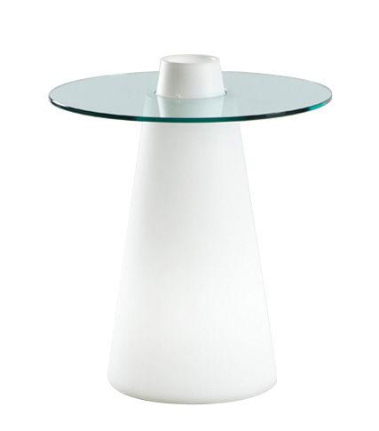 Mobilier - Mobilier lumineux - Table lumineuse Peak / Ø 70  x H 80 cm - Slide - Ø 70 / Blanc & plateau transparent - Polyéthylène recyclable rotomoulé, Verre