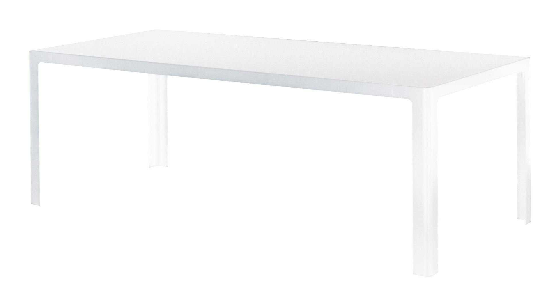 Furniture - Dining Tables - Metisse Table - rectangular L 240 cm by Zeus - White top / Semi-opaque white frame - Glass, Steel