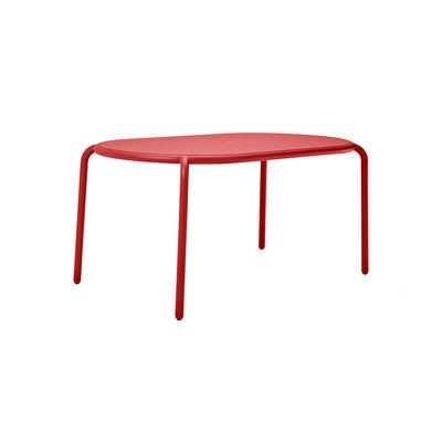 Table ovale Toní Tavolo / 160 x 90 cm - Trou pour parasol + bougeoir amovible - Fatboy rouge en métal